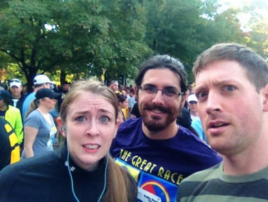 That would be me, pre-race. And Dave. And the friend who challenged me in January to make my 5K resolution into a 10K instead. Let's call him Lord Pickles.